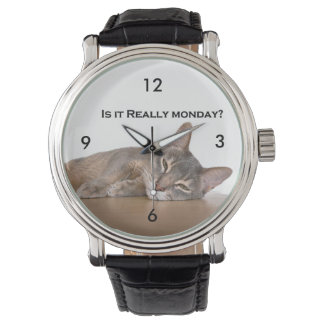Abyssinian Brown Funny Cat Hates Monday Wristwatches