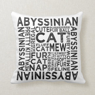 Abyssinian Cat Typography Throw Pillow
