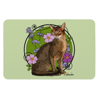 Abyssinian Cat with Beach Roses Magnet