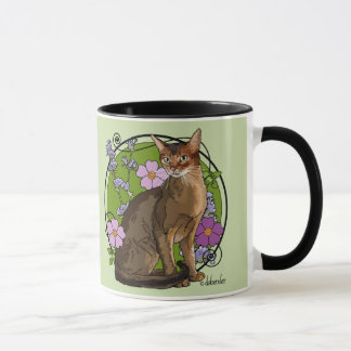 Abyssinian Cat with Beach Roses Mug