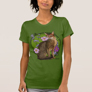 Abyssinian Cat with Beach Roses T-Shirt