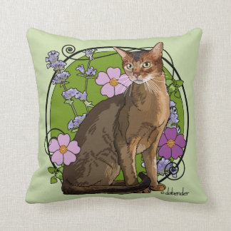 Abyssinian Cat with Beach Roses Throw Pillow