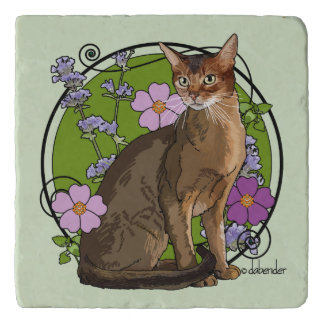 Abyssinian Cat with Beach Roses Trivet