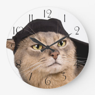 Abyssinian Cool Cap Cat Large Clock