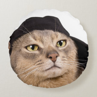 Abyssinian Cool Cap Cat Round Pillow