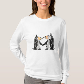 AC- Cartoon Penguins Holding Hands T-shirt
