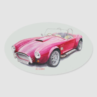 AC Cobra Red Classic Sports Car Oval Sticker