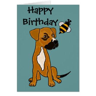 AC- Cute Boxer Puppy and Bee Cartoon Card