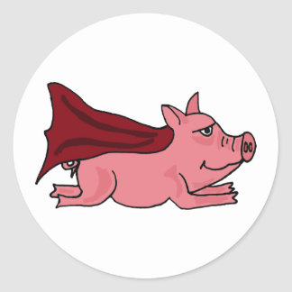 AC- Flying Super Pig Cartoon Round Sticker