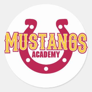 Académie de mustang sticker rond