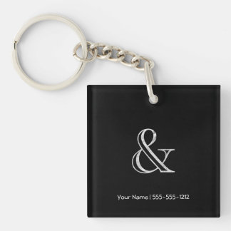 Academy Engraved Ampersand White Keychain