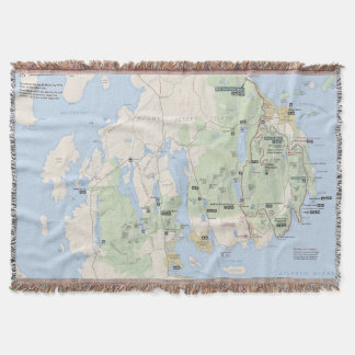 Acadia National Park map throw blanket