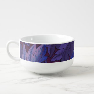 Acanthus Leaves in Purple and Blue Sneakers Soup Bowl With Handle