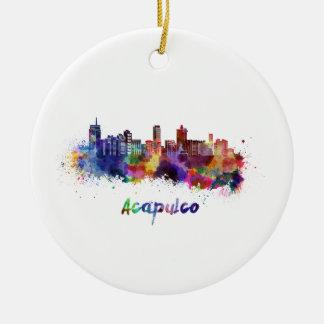 Acapulco skyline in watercolor ceramic ornament