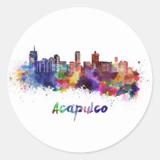 Acapulco skyline in watercolor classic round sticker