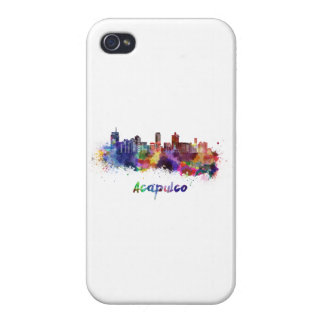 Acapulco skyline in watercolor iPhone 4 cases