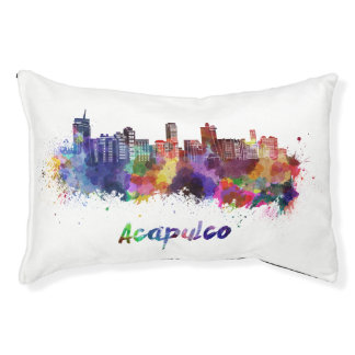 Acapulco skyline in watercolor pet bed