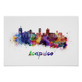 Acapulco skyline in watercolor poster