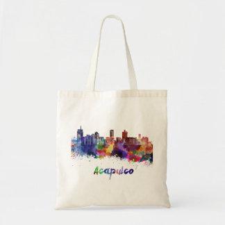 Acapulco skyline in watercolor tote bag