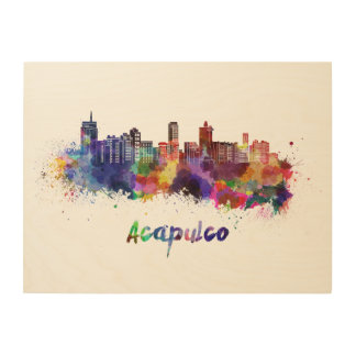 Acapulco skyline in watercolor wood wall decor