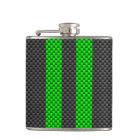 Accent Green Carbon Fibre Style Racing Stripes Hip Flask