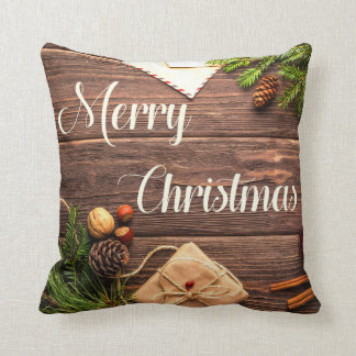 Accent Pillow Pine Wood Acorns Nuts Old Letters