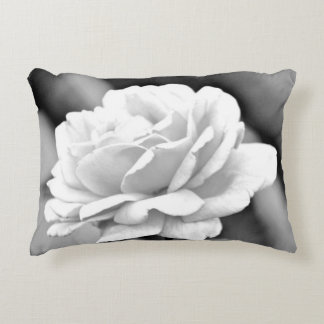 Accent Pillow -  White Rose On Black