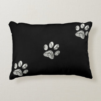 Accent Pillow With Paw Prints Sketch by Erika