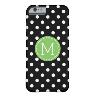 Accents verts noirs et blancs de Polkadot Coque Barely There iPhone 6