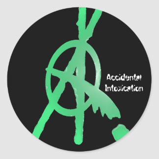 Accidental Intoxication Classic Round Sticker
