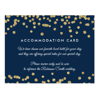 Accommodation Gold Faux Glitter Confetti Navy Blue Postcard