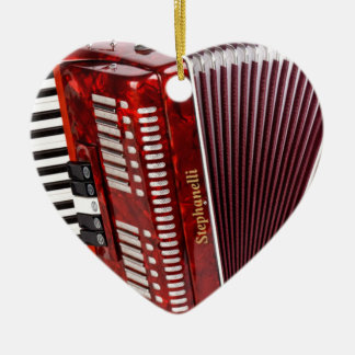 ACCORDIAN MUSICAL INSTRUMENT CERAMIC HEART ORNAMENT