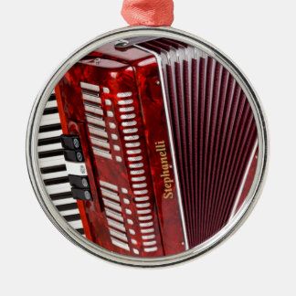 ACCORDIAN MUSICAL INSTRUMENT Silver-Colored ROUND ORNAMENT