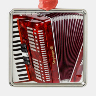 ACCORDIAN MUSICAL INSTRUMENT Silver-Colored SQUARE ORNAMENT