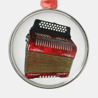 Accordian Silver-Colored Round Ornament