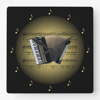 Accordion 3-D Gold Globe ~ Sheet Music ~ Black BG Square Wall Clock