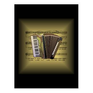 Accordion ~ 3-D Sheet Music ~ Gold & Black Back Postcard
