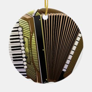 accordion all alone round ceramic ornament