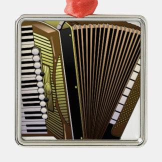 accordion all alone Silver-Colored square ornament