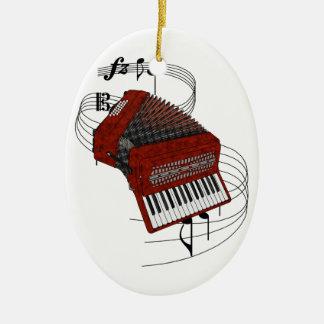 Accordion Ceramic Oval Ornament