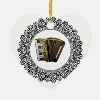 accordion in a round ceramic heart ornament