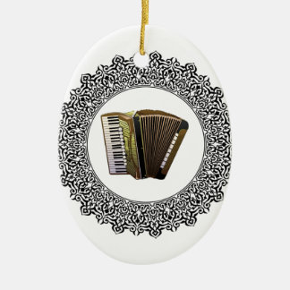 accordion in a round ceramic oval ornament