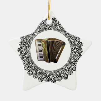 accordion in a round ceramic star ornament