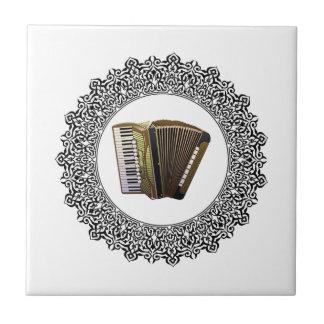 accordion in a round ceramic tiles