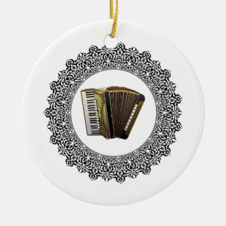 accordion in a round round ceramic ornament