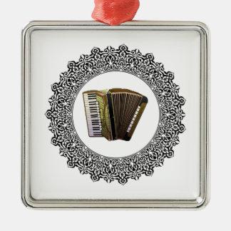 accordion in a round Silver-Colored square ornament