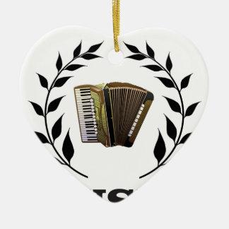 accordion music branch ceramic heart ornament
