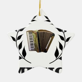 accordion music branch ceramic star ornament