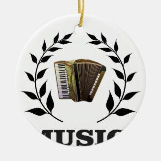 accordion music branch round ceramic ornament