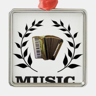 accordion music branch Silver-Colored square ornament